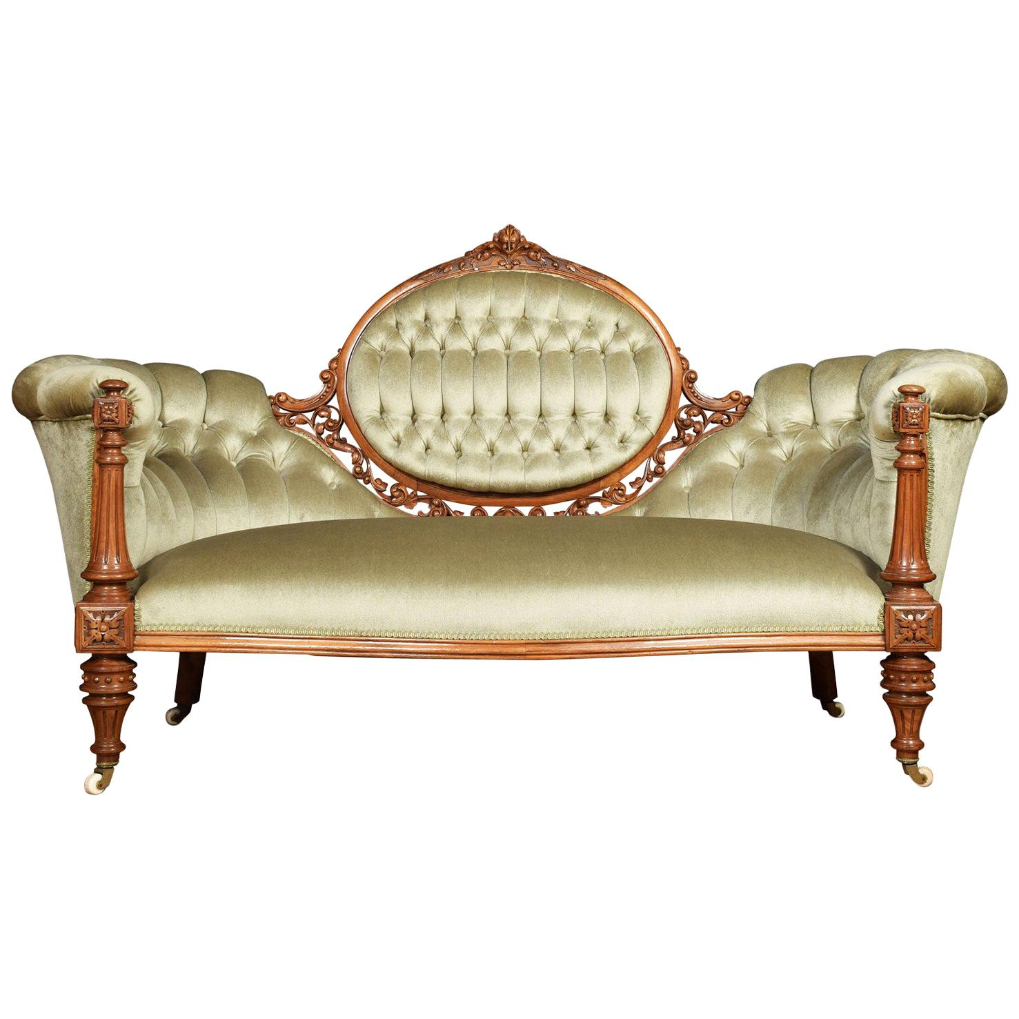 Walnut Framed Cameo Back Settee