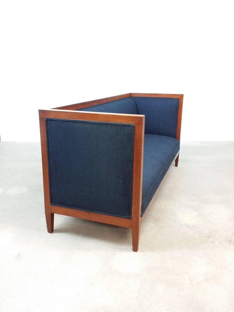 Mid-Century Modern Walnut Framed Even Armed Sofa