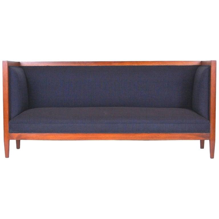 Walnut Framed Even Armed Sofa