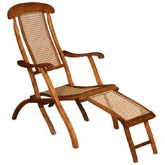 Walnut Framed Folding Steamer Deck Chair