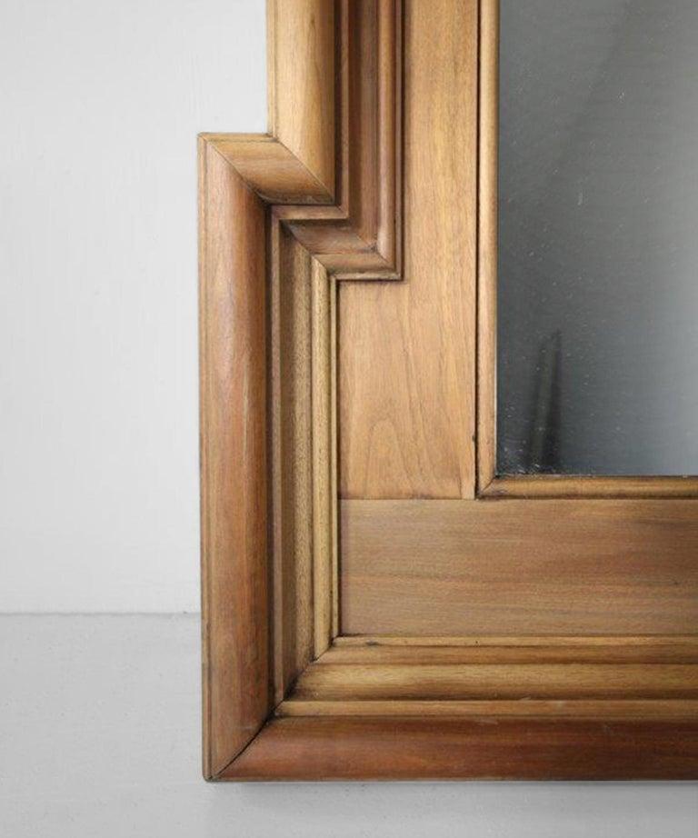 Walnut Framed Mirror In Good Condition In Culver City, CA