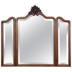Walnut Framed Triptych Wall Mirror