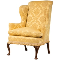 Walnut Framed Wing Chair of Small Proportions