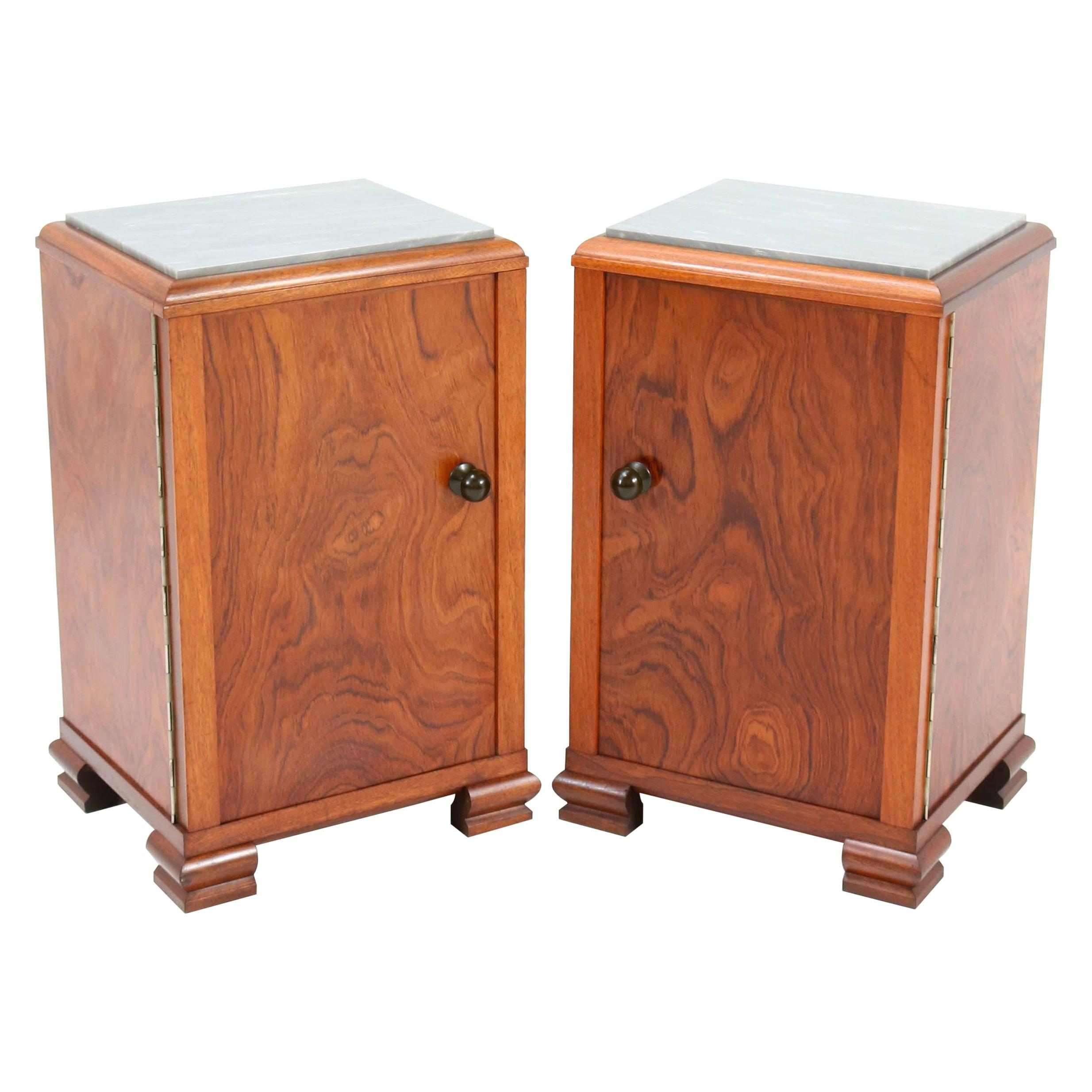 Walnut French Art Deco Nightstands or Bedside Tables, 1930s