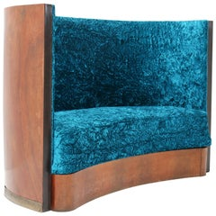 Walnut French Art Deco Settee or Sofa, 1930s