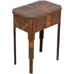 Walnut French Art Deco Sewing Table with Inlay, 1930s