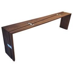 Walnut Gallery Handmade Modern Minimal Bench with Recycled Polyethylene Keys