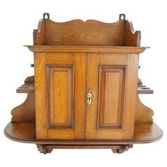 Walnut Hanging Smokers, Wall Cabinet, Antique Furniture, Scotland, 1890 1889