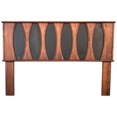 Walnut Headboard Full Size with Faux Leather Style John Kapel Glenn of CA, 1960s