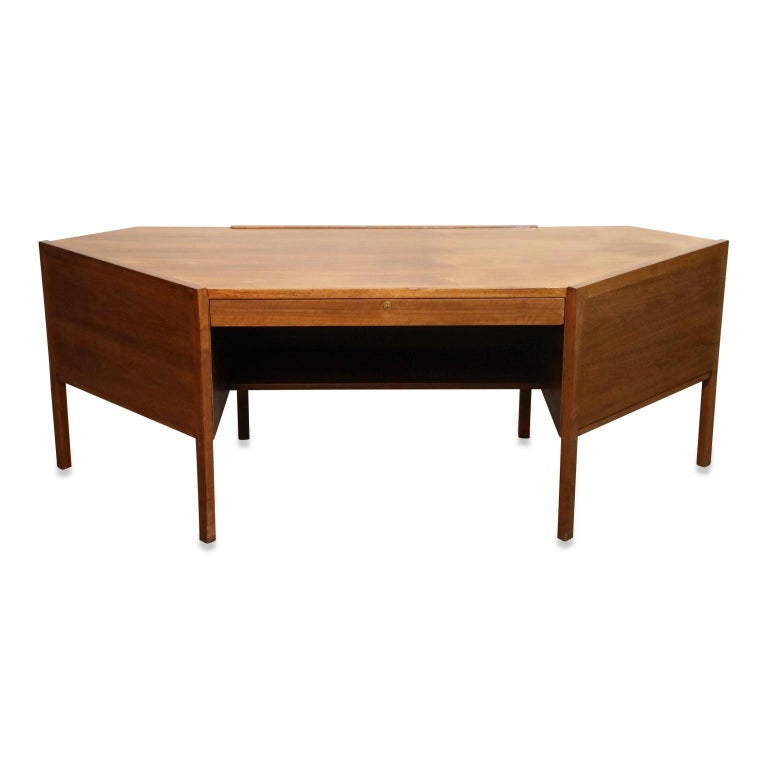 Mid-Century Modern Walnut Hexagon Desk by Edward Wormley for Dunbar, Signed, circa 1960 For Sale