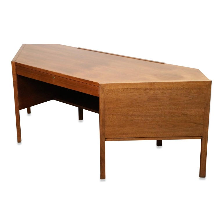 American Walnut Hexagon Desk by Edward Wormley for Dunbar, Signed, circa 1960 For Sale