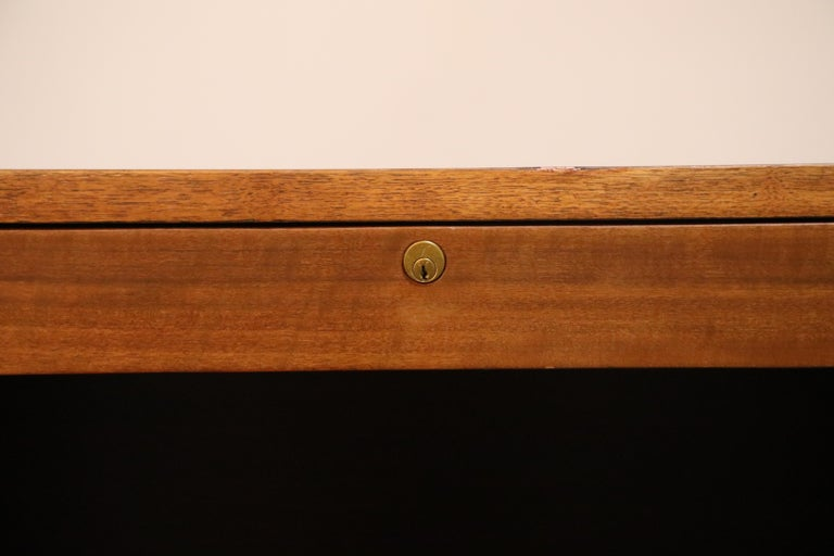 Mid-20th Century Walnut Hexagon Desk by Edward Wormley for Dunbar, Signed, circa 1960 For Sale