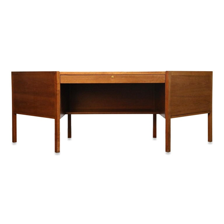 Walnut Hexagon Desk by Edward Wormley for Dunbar, Signed, circa 1960 For Sale