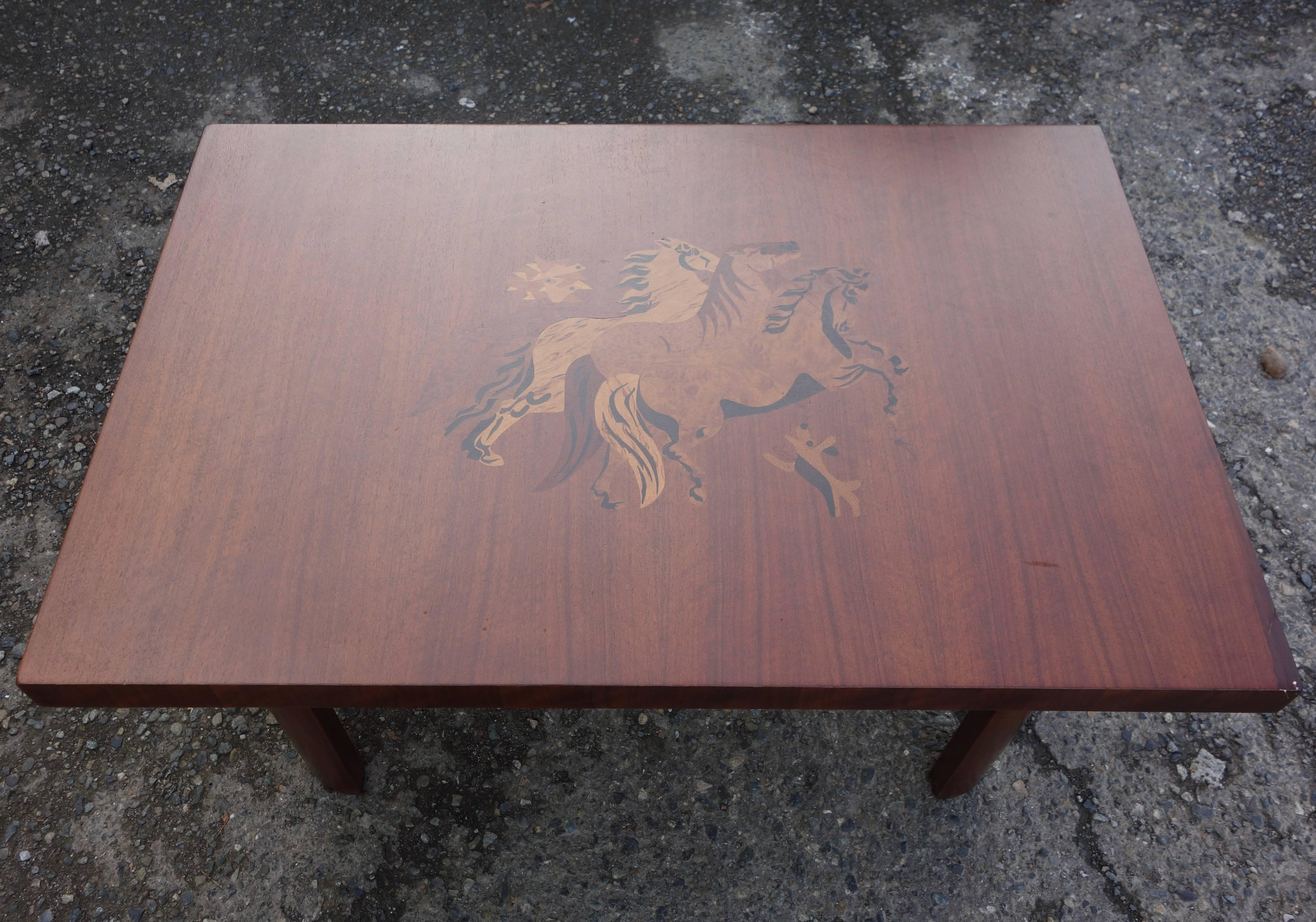 This Is A Walnut Coffee Table With Exotic Wood Inlay Of A Flock Of Birds,