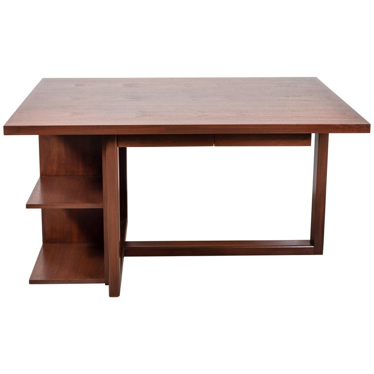 The Ivanhoe desk features a cantilevered base with open display shelves. Available in American walnut or white oak. Shown here in light walnut.   The Lawson-Fenning Collection is designed and handmade in Los Angeles, California.  Can be made to
