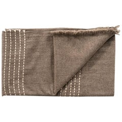 Walnut Jute Yak Throw / Blanket, Handloom and Hand Embroidered