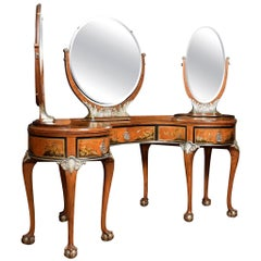 Walnut Kidney Shaped Chinoiserie Decorated Dressing Table