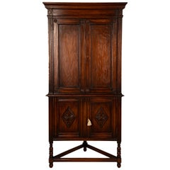 Walnut Late Victorian Corner Cabinet
