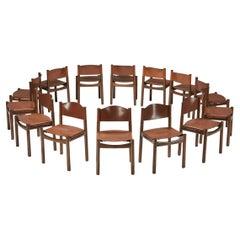 Scarpa Style Walnut & Leather Dining Chairs, Italian design, rustic twist