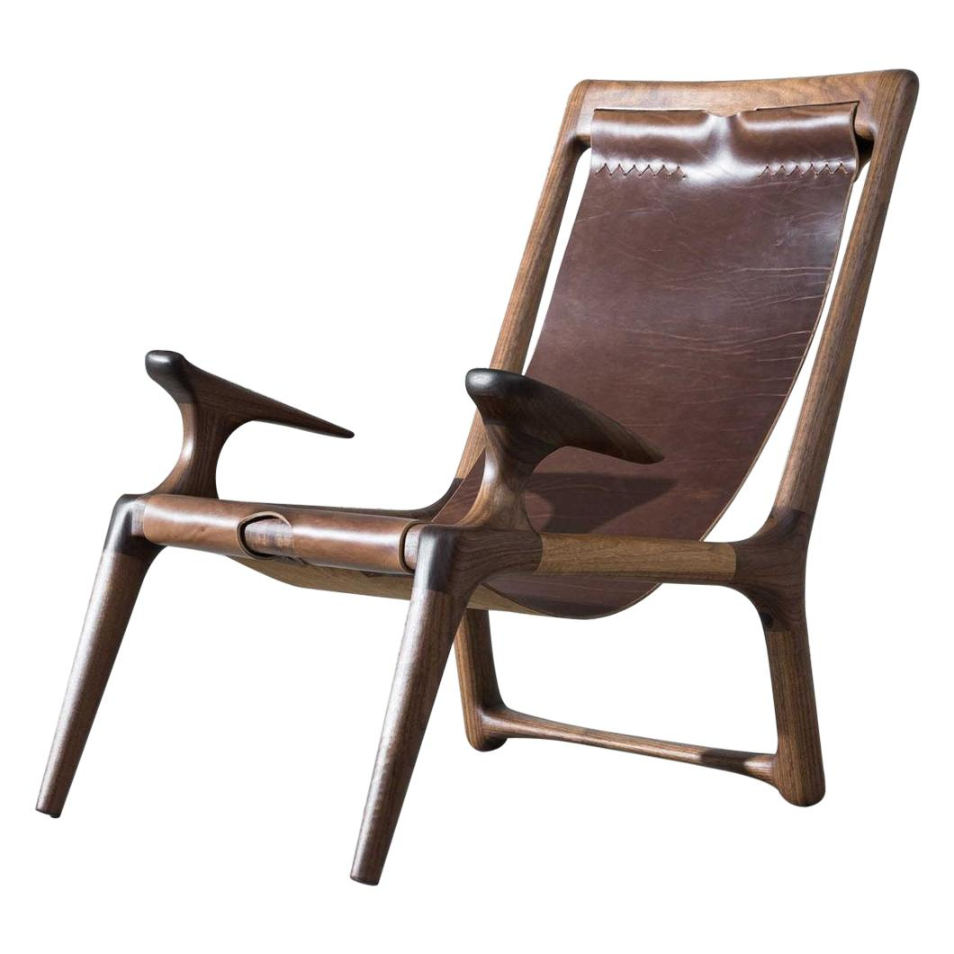 Walnut & Leather Sling Chair by Fernweh Woodworking