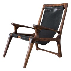 Walnut & Leather Sling Chair Mod 2 by Fernweh Woodworking