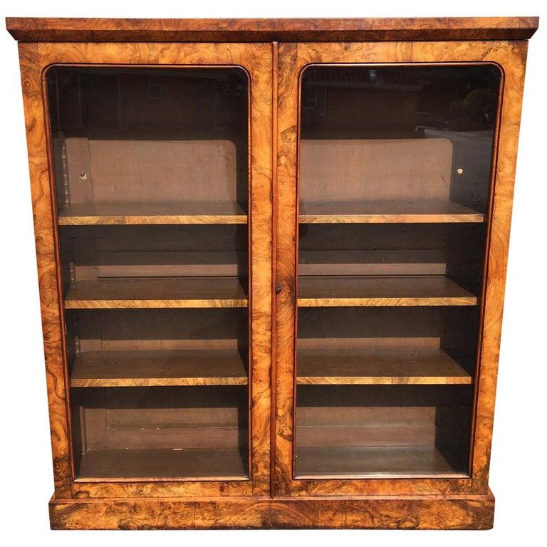 Walnut Library Bookcase, English, circa 1850 For Sale