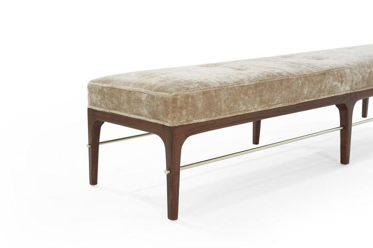 Brass Walnut Linear Bench by Stamford Modern For Sale