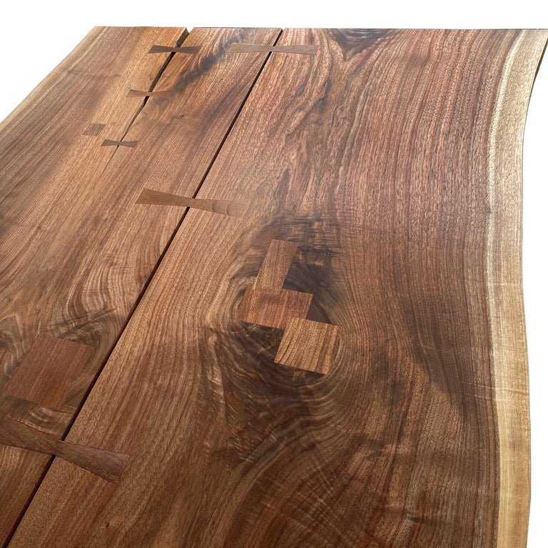 Mid-Century Modern Walnut Live-Edge Slab Mid-Century Style Sen Trestle Table by New York Heartwoods For Sale