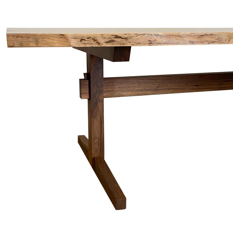 American Walnut Live-Edge Slab Mid-Century Style Sen Trestle Table by New York Heartwoods For Sale