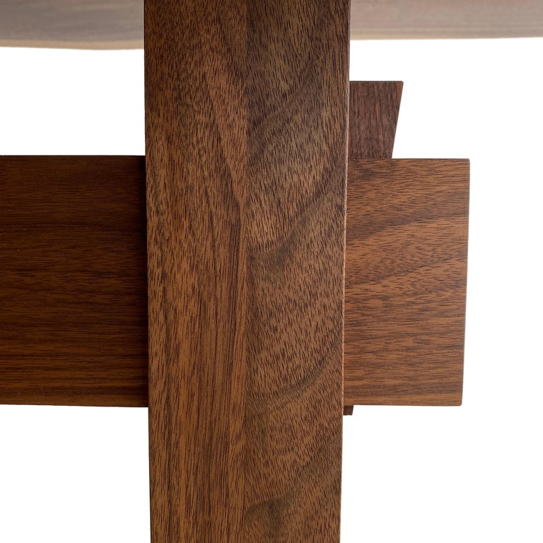 Hand-Crafted Walnut Live-Edge Slab Mid-Century Style Sen Trestle Table by New York Heartwoods For Sale