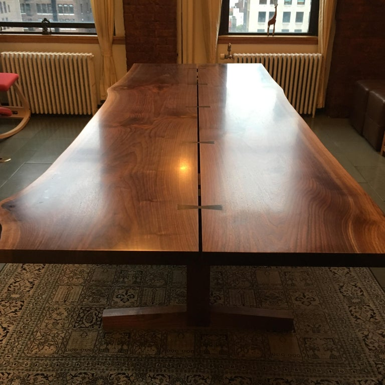 Walnut Live-Edge Slab Mid-Century Style Sen Trestle Table by New York Heartwoods In New Condition For Sale In Kingston, NY