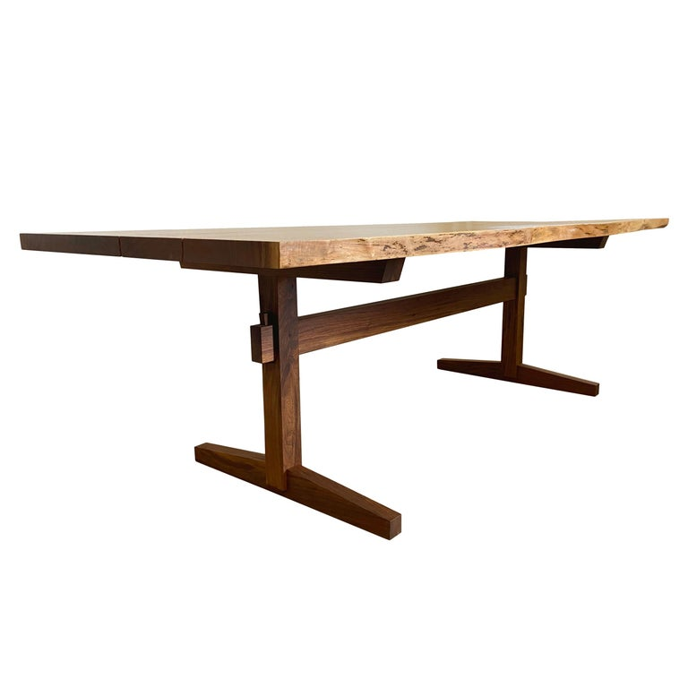 Walnut Live-Edge Slab Mid-Century Style Sen Trestle Table by New York Heartwoods For Sale