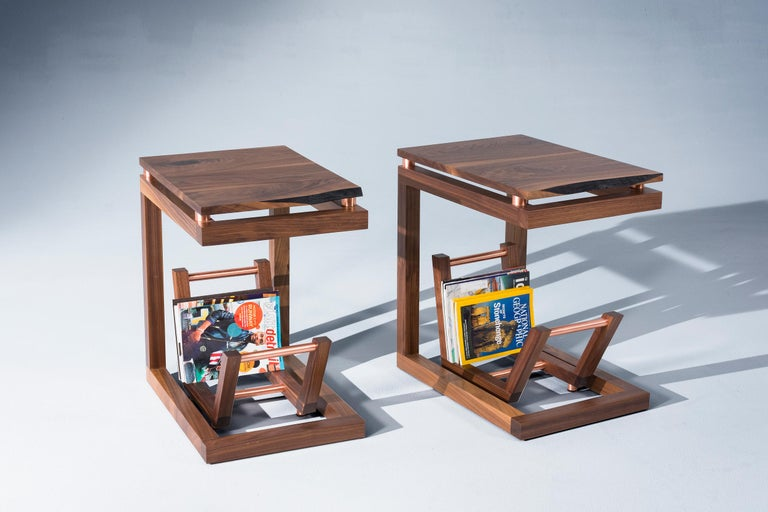 American Walnut Live Edge with Copper Tubing Side Table