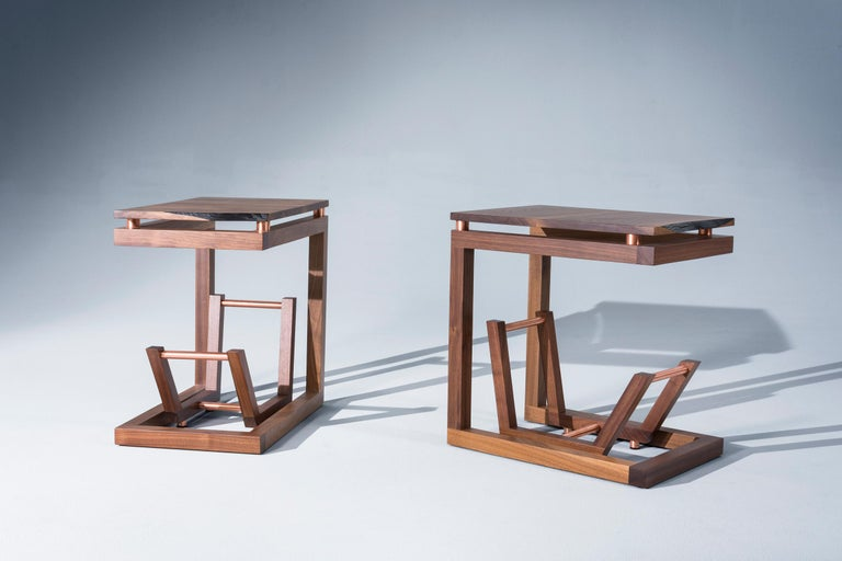 Metalwork Walnut Live Edge with Copper Tubing Side Table
