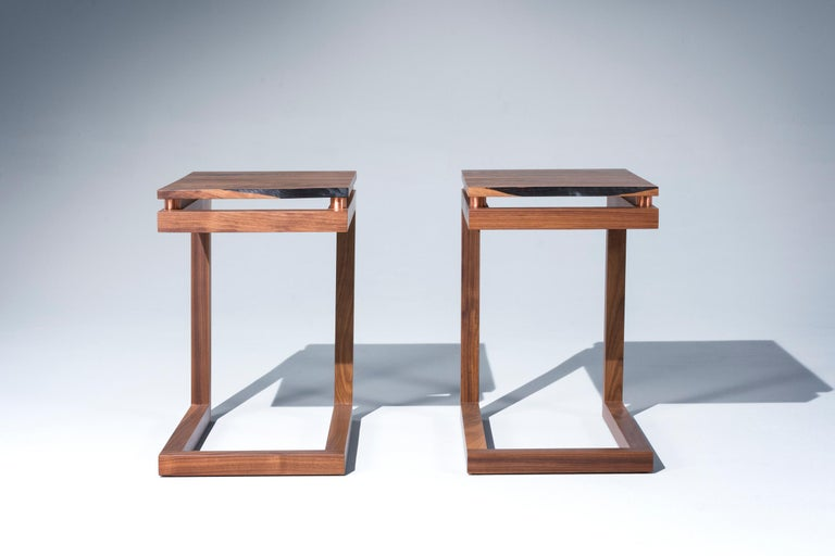 Walnut Live Edge with Copper Tubing Side Table