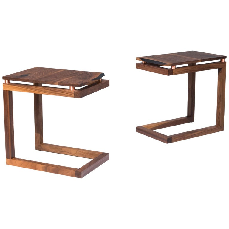 """Walnut Live Edge with Copper Tubing Side Table """"Clairmount End Table"""" For Sale"""