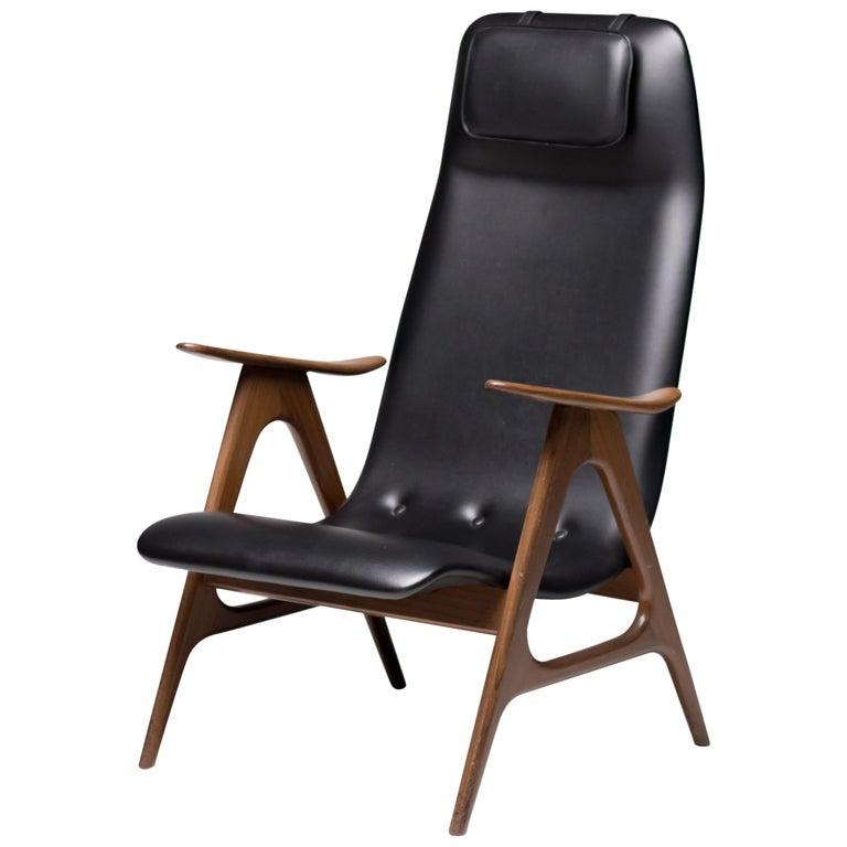 Walnut Lounge Chair by Louis van Teeffelen For Sale