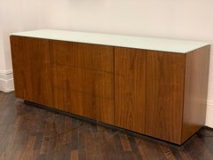Walnut M2L Brand Credenza with White Glass Top