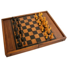 Walnut Marquetry Folding Game Box, with Chess, Checkers, Backgammon, circa 1900