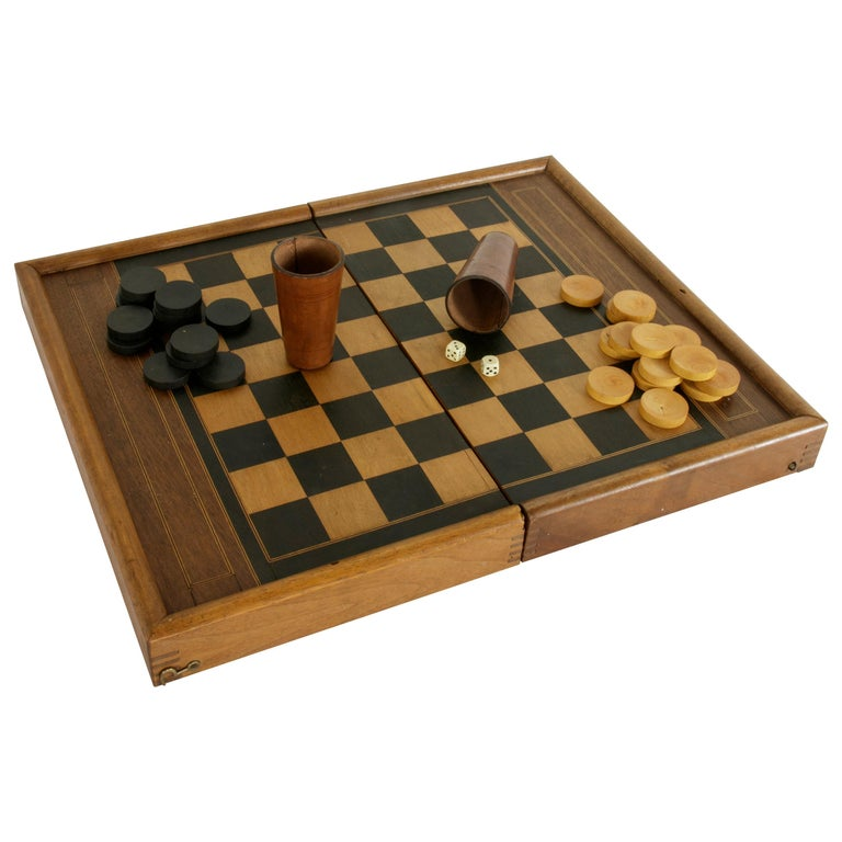 Walnut Marquetry Folding Game Box, with Reverse Side Backgammon, circa 1900 For Sale
