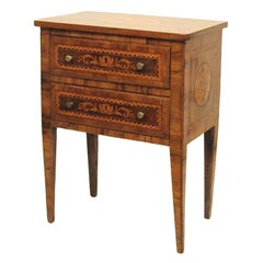 Walnut Marquetry Inlay Comodino Side Table, Italian, 18th Century