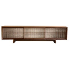 Walnut Media Console Room Divider with Sliding Shoji Doors