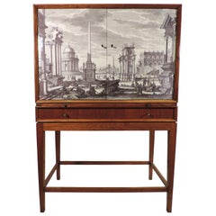 Walnut Midcentury Cabinet, Dry Bar, Velum Doors in the Manner of Fornasetti