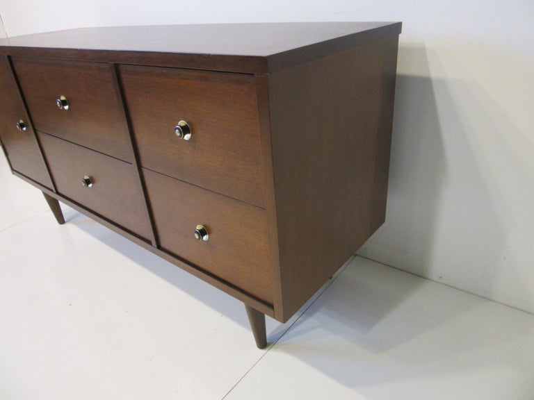 American Walnut Midcentury Credenza / Server Cabinet For Sale