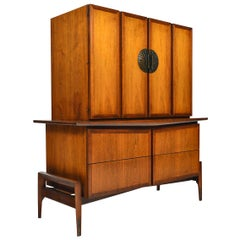 Walnut Mid Century Gentlemans Chest / Highboy Dresser by Helen Hobey Baker