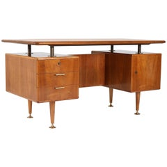 Walnut Mid-Century Modern Floating Top Desk by A.A.Patijn for Poly-Z, 1960s