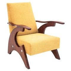 Walnut Midcentury Yellow Armchair, 1950