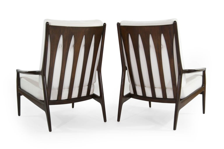 American Walnut Milo Baughman, Archie Lounge Chairs, 1950s For Sale