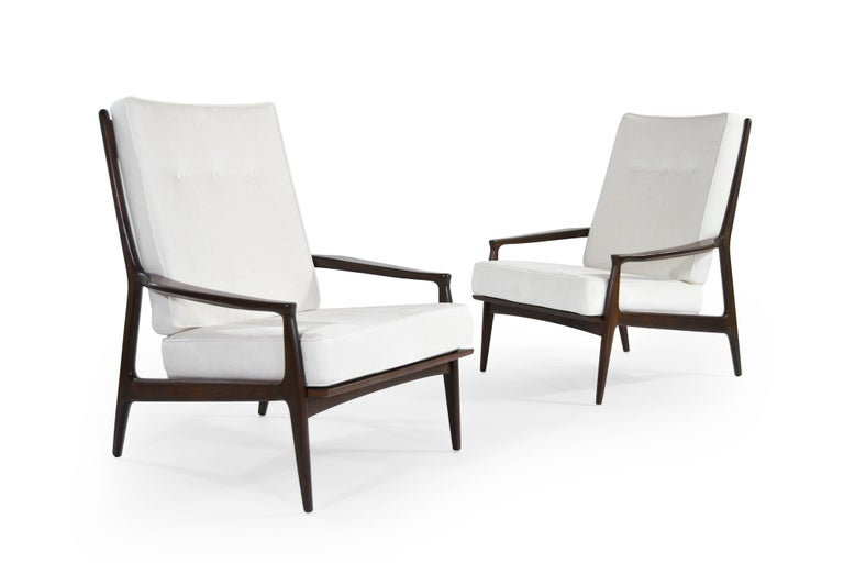 Walnut Milo Baughman, Archie Lounge Chairs, 1950s In Excellent Condition For Sale In Stamford, CT