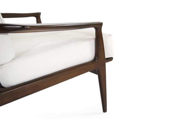 Linen Walnut Milo Baughman, Archie Lounge Chairs, 1950s For Sale